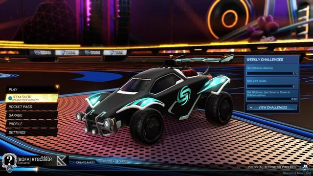 EKLY CHALLENGES 3 Online Matches Gal Level. Get 10 Saves, Epic Saves or Clears in Online Matches VIEW CHALLENGES PRESS TO SWITCH PROFILES WE  win FLIPTASTIC ROCKET PASS PROFILE SETTINGS memes