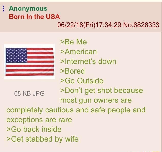 Anonymous Born In the USA No.6826333 Be Me American Internet's down sss Bored Go Outside 68 KB JPG Do not get shot because most gun owners are completely cautious and safe people and exceptions are rare Go back inside Get stabbed by wife memes