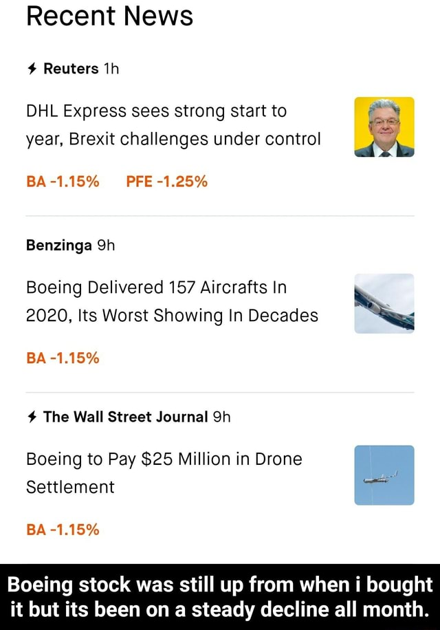 Recent News Reuters DHL Express sees strong start to year, Brexit challenges under control BA 1.15% PFE 1.25% Benzinga Boeing Delivered 157 Aircrafts In 2020, Its Worst Showing In Decades BA 1.15% The Wall Street Journal Boeing to Pay $25 Million in Drone Settlement BA 1.15% Boeing stock was still up from when i bought it but its been on a steady decline all month. Boeing stock was still up from when i bought it but its been on a steady decline all month memes
