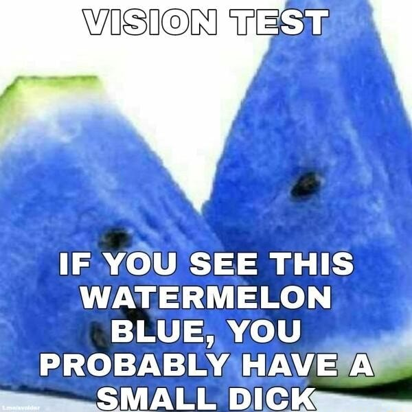 WISION ST IF YOU SEE THIS WATERMELON BLUE, YOU PROBABLY HAVE A SMALL DICK meme