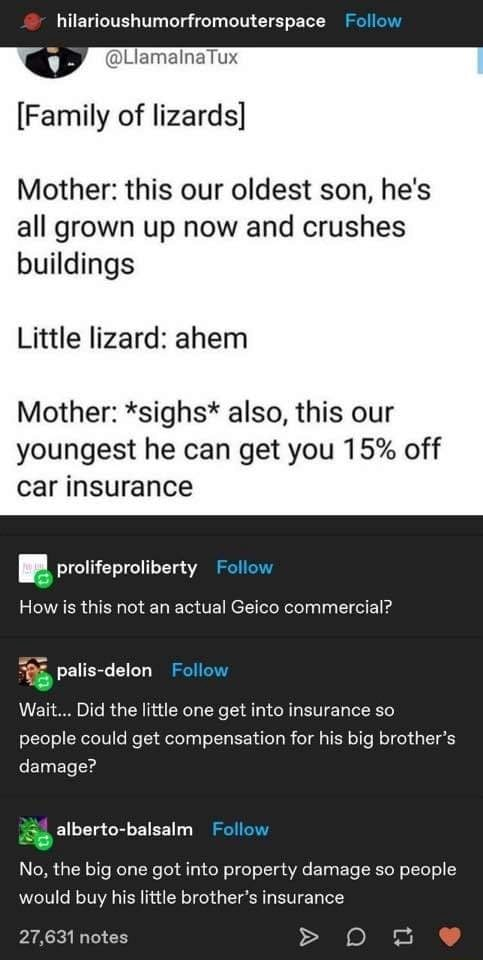 Hilarioushumorfromouterspace Follow jamalnaTux Family of lizards Mother this our oldest son, he's all grown up now and crushes buildings Little lizard ahem Mother *sighs* also, this our youngest he can get you 15% off car insurance BB prolifeproliberty alis delon How is this not an actual Geico commercial Wait Did the little one get into insurance so people could get compensation for his big brother's damage No, the big one got into property damage so people would buy his little brother's insurance alberto balsalm 27,631 notes memes