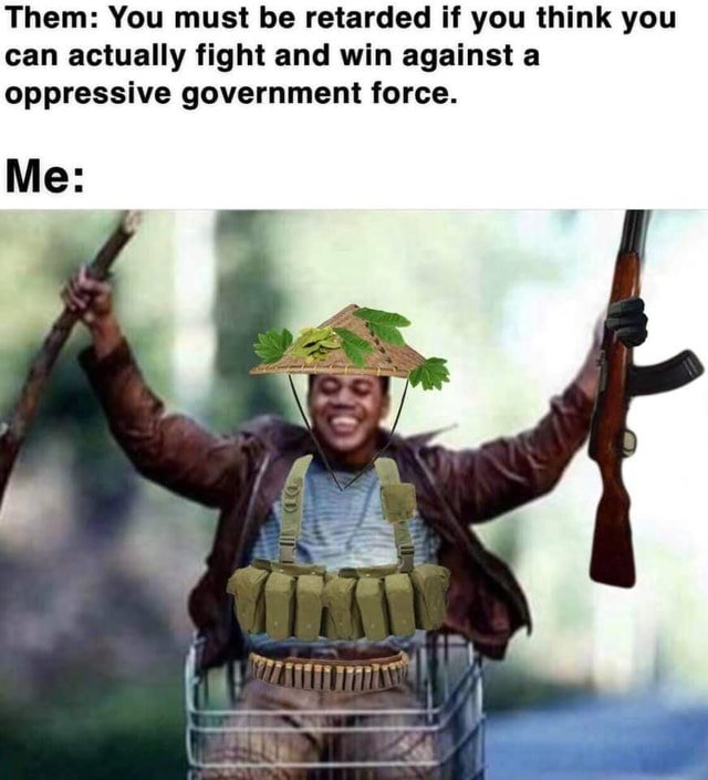 Them You must be retarded if you think you can actually fight and win against a oppressive government force. Me memes
