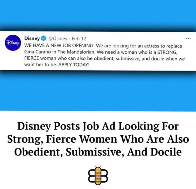 Disney Disney Feb 12 WE HAVE A NEW JOB OPENING We are looking for an actress to replace Gina Carano in The Mandalorian. We need a woman who is a STRONG, FIERCE woman who can also be obedient, submissive, and docile when we want her to be. APPLY TODAY Disney Posts Job Ad Looking For Strong, Fierce Women Who Are Also Obedient, Submissive, And Docile meme