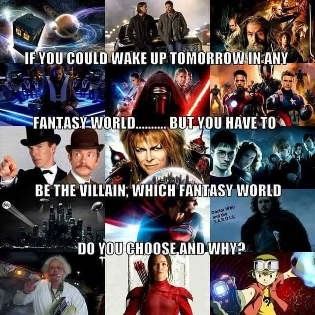 Ae IF YOU COULD WAKE UP TOMGRROW IN rANTASY WOBLG OU HAVE E THE VILLAIN, WHITH FANTASY WORLD all YOUCHOOSE AND meme