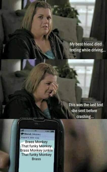 4 My best friend died texting while driving This was the last text she sent before crashing Brass Monkey Brass Monkey junkie Brass meme