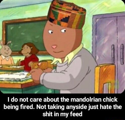 Do not care about the mandolrian chick being fired. Not taking anyside just hate the shit in my feed I do not care about the mandolrian chick being fired. Not taking anyside just hate the shit in my feed meme