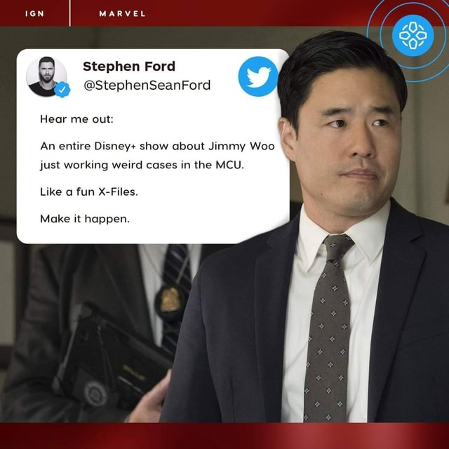 MARVEL Stephen Ford StephenSeanFord Hear me out An entire Disney show about Jimmy Woo just working weird cases in the MCU. Like a fun X Files. Make it happen memes