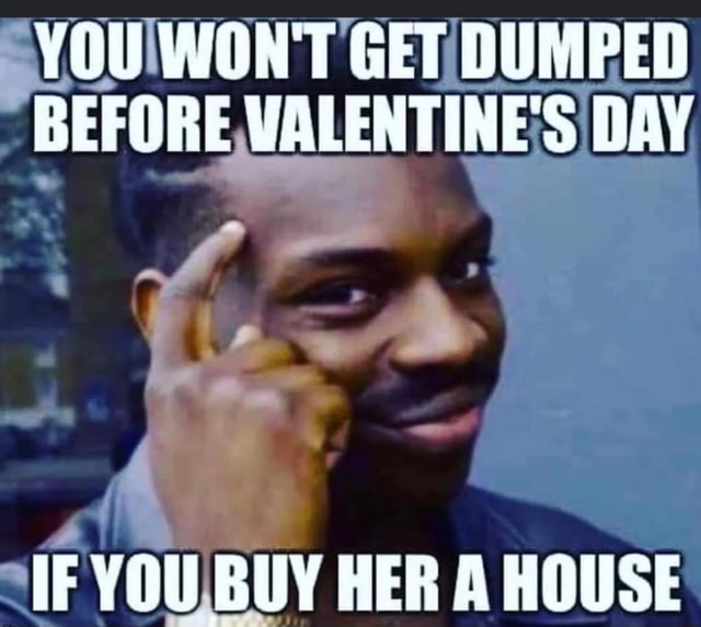 YOU WON'T GET DUMPED BEFORE VALENTINE'S DAY IF YOU BUY HER A HOUSE memes