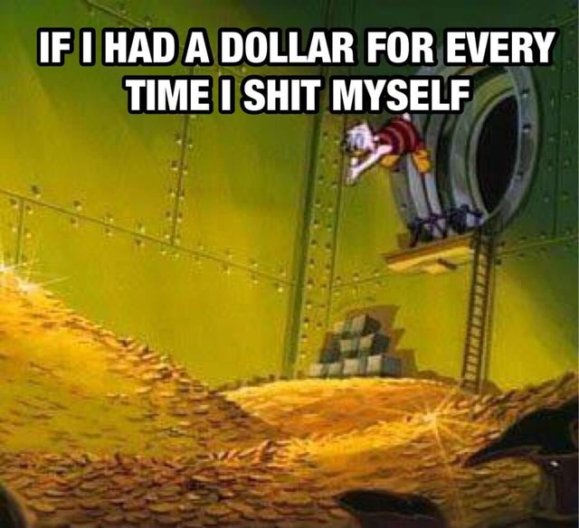 IF I HAD A DOLLAR FOR EVERY TIME I SHIT MYSELF memes