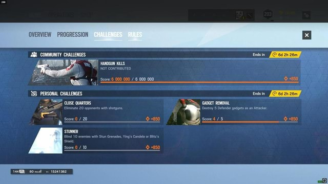 OVERVIEW PROGRESSION COMMUNITY CHALLENGES CHALLENGES RULES HANDGUN KILLS NOT CONTRIBUTED Score 6 000 000  6 000 000 TS PERSONAL CHALLENGES Ends in CLOSE QUARTERS GADGET REMOVAL Ends in 850 Eliminate 20 opponents with shotguns. Destroy 5 Defender gadgets as an Attacker. Score 0  20 850 Score 4  5 850 A A STUNNER Blind 10 enemies with Stun Grenades, Ying's Candela or Blitz's Shield. Score 0  10 850 v 15241382 memes
