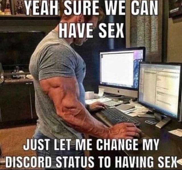 YEAH SURE WE GAN HAVE SEX JUST LET ME CHANGE MY DISCORD STATUS TO HAVING SEX memes
