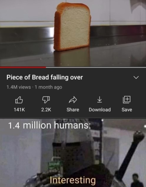 Piece of Bread falling over 1.4M views month ago 1.4 million ia pp A 141K 2.2K Share Download Save umans. interesting meme