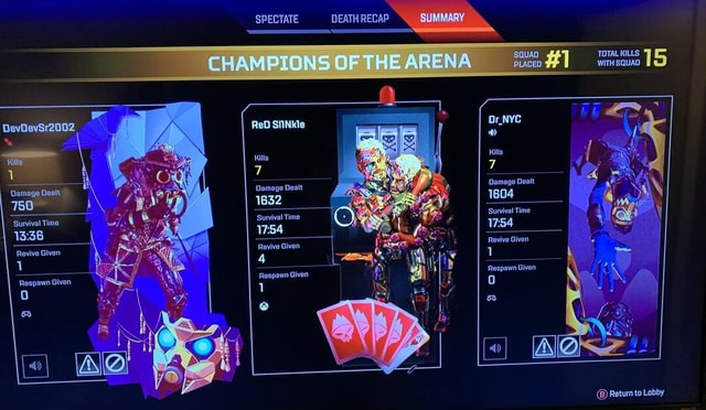 SPECTATE DEATH RECAP CHAMPIONS OF THE ARENA SQUAD PLACEO TOTAL KILLS WITH SQUAD 15 ReD SIINKle Kills Damage Dealt Damage 1604 Dealt 1632 1804 Kills Survival Time Damage Dealt 750 i Survival Time Survival Time Revive Given Revive Given 1 Respawn Given Respawn Given Revive Given Revive Given Raspawa Given Return to Lobby memes