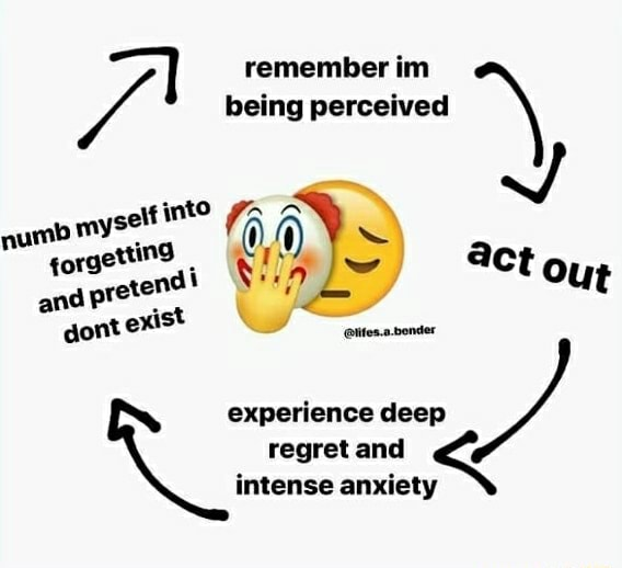 Remember im being perceived  myself int ettind experience deep regret intense and anxiety  intense anxiet memes