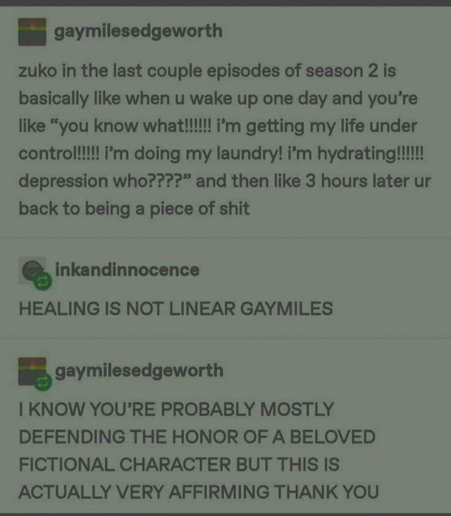 Zuko in the last couple episodes of season 2 is basically like when u wake up one day and you're YOU depression who   and then like 3 hours later ur back to being a piece of shit Inkandinnocence HEALING IS NOT LINEAR GAYMILES KNOW YOU'RE PROBABLY MOSTLY DEFENDING THE HONOR OF A BELOVED FICTIONAL CHARACTER BUT THIS IS ACTUALLY VERY AFFIRMING THANK YOU memes