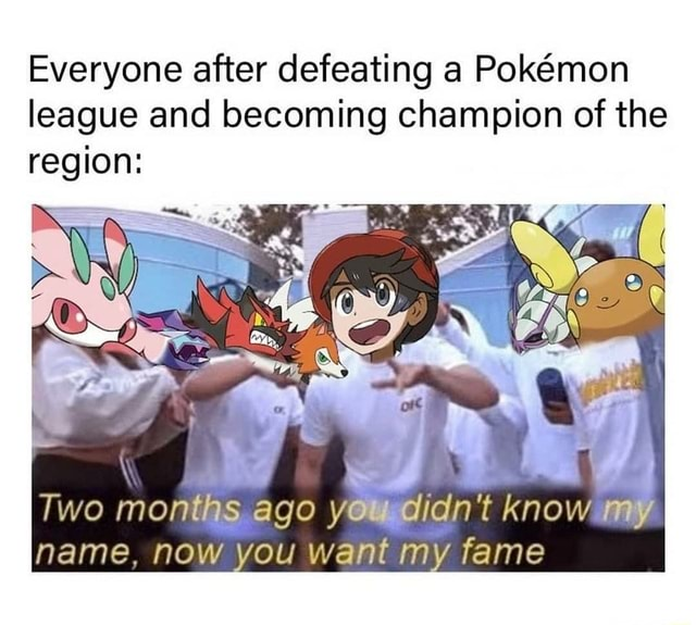 Everyone after defeating a Pokmon league and becoming champion of the region SS EN Two months ago yowudidn't know my name. now you want my fame memes