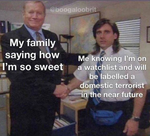 My family saying how im so sweet Me knowing Pm on watchlist and will be labelled a domestic terrorist in the near future memes