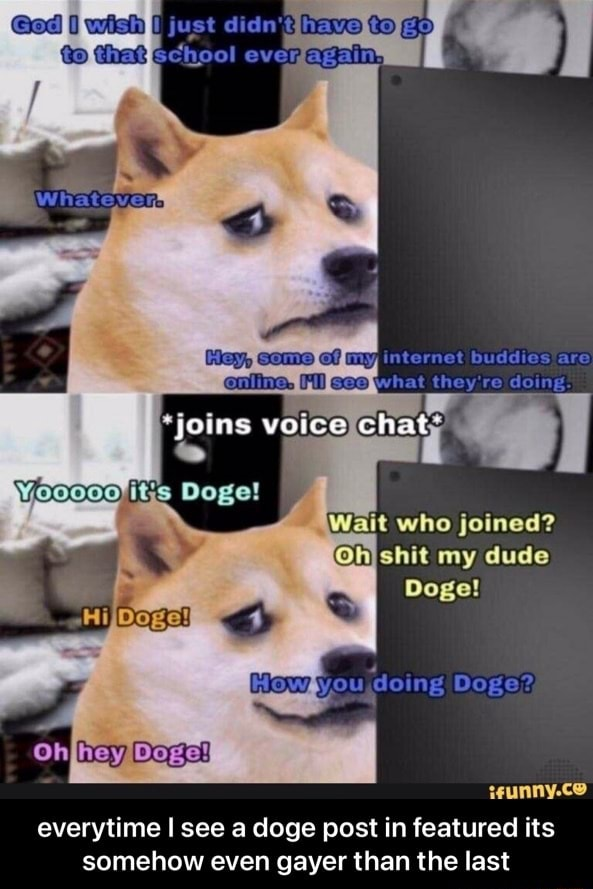 Just dic have ever Hay, Internat boddies ara what they re deing. voice chat its Doge Wait who joined my dude Doge How you doing Doge everytime see a doge post in featured its somehow even gayer than the last everytime I see a doge post in featured its somehow even gayer than the last memes