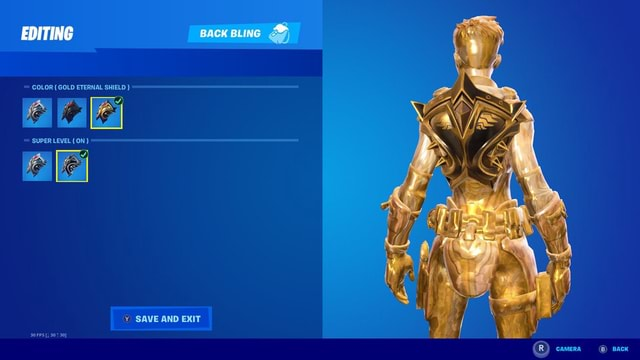 EDITING BACK BLING SS COLOR GOLD ETERNAL SHIELD SUPER LEVEL ON Y SAVE AND EXIT memes