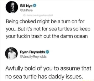 Bill Nye Being choked might be a turn on for you But it's not for sea turtles so keep your fuckin trash out the damn ocean Ryan Reynolds Awfully bold of you to assume that no sea turtle has daddy issues memes