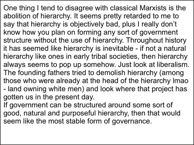One thing I tend to disagree with classical Marxists is the abolition of hierarchy. It seems pretty retarded to me to say that hierarchy is objectively bad, plus I really do not know how you plan on forming any sort of government structure without the use of hierarchy. Throughout history it has seemed like hierarchy is inevitable  if not a natural hierarchy like ones in early tribal societies, then hierarchy always seems to pop up somehow. Just look at liberalism. The founding fathers tried to demolish hierarchy among those who were already at the head of the hierarchy Imao  land owning white men and look where that project has gotten us in the present day. If government can be structured around some sort of good, natural and purposeful hierarchy, then that would seem like the most stable