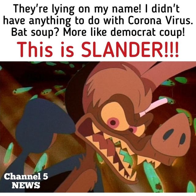 They're lying on my name I didn't have anything to do with Corona Virus. Bat soup More like democrat coup This is SLANDER  Channel 5 NEWS memes