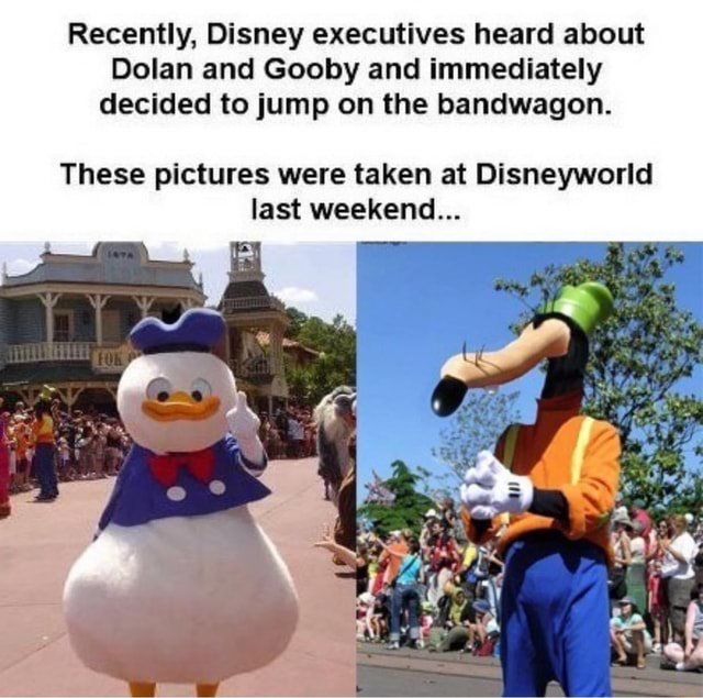 Recently, Disney executives heard about Dolan and Gooby and immediately decided to jump on the bandwagon. These pictures were taken at Disneyworld last weekend memes