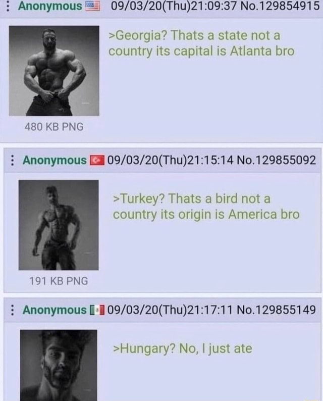Anonymous No. 129854915 Georgia Thats a state not a country its capital is Atlanta bro 480 KB PNG Anonymous No. Turkey Thats a bird not a country its origin is America bro 191 KB PNG Anonymous No.129885149 Hungary No, I just ate meme