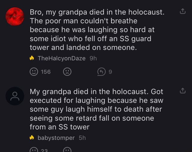 Bro, my grandpa died in the holocaust. The poor man couldn't breathe because he was laughing so hard at some idiot who fell off an SS guard tower and landed on someone. TheHalcyonDaze My grandpa died in the holocaust. Got executed for laughing because he saw some guy laugh himself to death after seeing some retard fall on someone from an SS tower babystomper memes