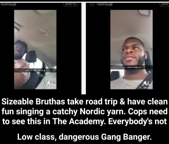 Sizeable Bruthas take road trip  and  have clean fun singing a catchy Nordic yarn. Cops need to see this in The Academy. Everybody's not Low class, dangerous Gang Banger.  Low class, dangerous Gang Banger memes