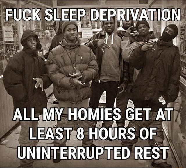 FUCK SLEEP DEPRIVATION ALL MY HOMIES GET AT LEAST 8 HOURS UNINTERRUPTED REST memes