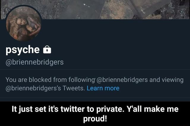 Psyche briennebridgers You are blocked from following briennebridgers and viewing briennebridgers's Tweets. Learn more It just set it's twitter to private. Y'all make me proud  It just set it's twitter to private. Y'all make me proud memes