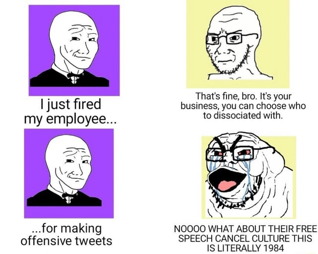I just fired my employee .for making offensive tweets That's fine, bro. It's your business, you can choose who to dissociated with. NOOOO WHAT ABOUT THEIR FREE SPEECH CANCEL CULTURE THIS IS LITERALLY 1984 meme