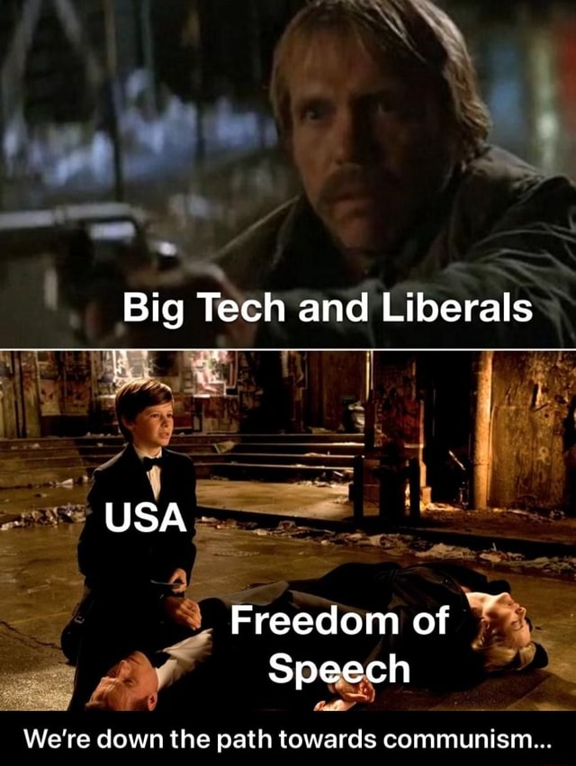 Big Tech and Liberals USA Freedom of Speech We're down the path towards communism  We're down the path towards communism meme