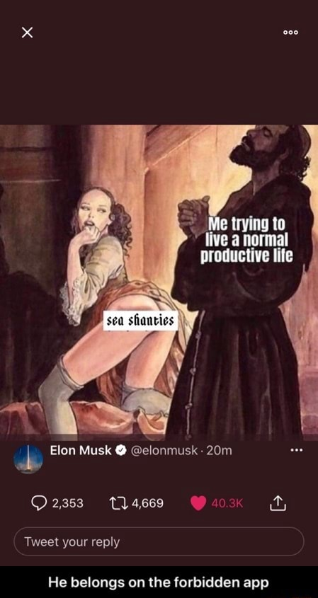 Me trying to tive a normal productive lite Elon Musk elonmusk 4.669 ty Tweet your reply He belongs on the forbidden app He belongs on the forbidden app memes