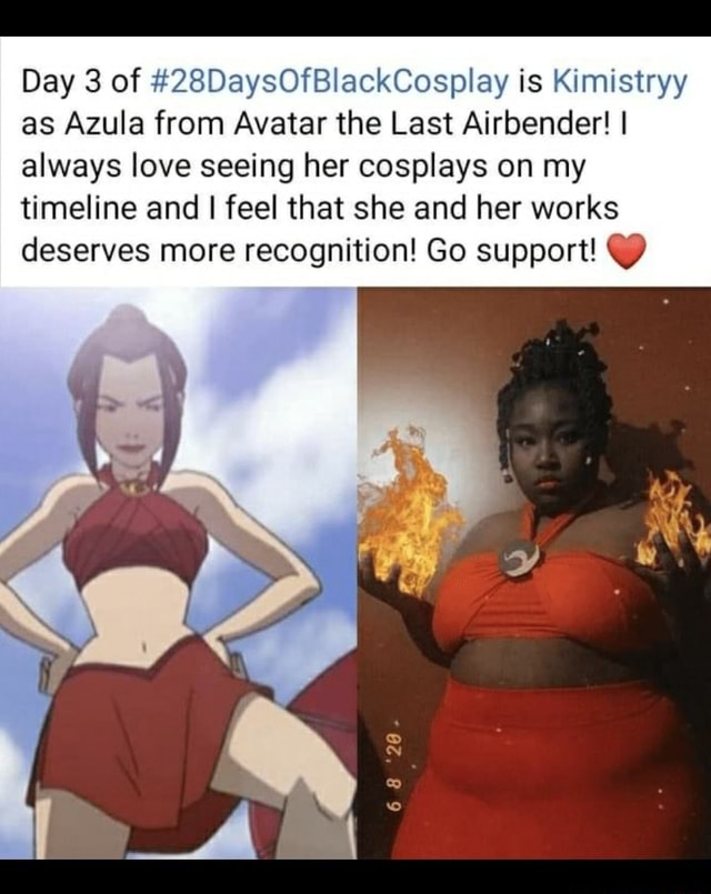 Day 3 of 28DaysOfBlackCosplay is Kimistryy as Azula from Avatar the Last Airbender I always love seeing her cosplays on my timeline and I feel that she and her works deserves more recognition Go support meme