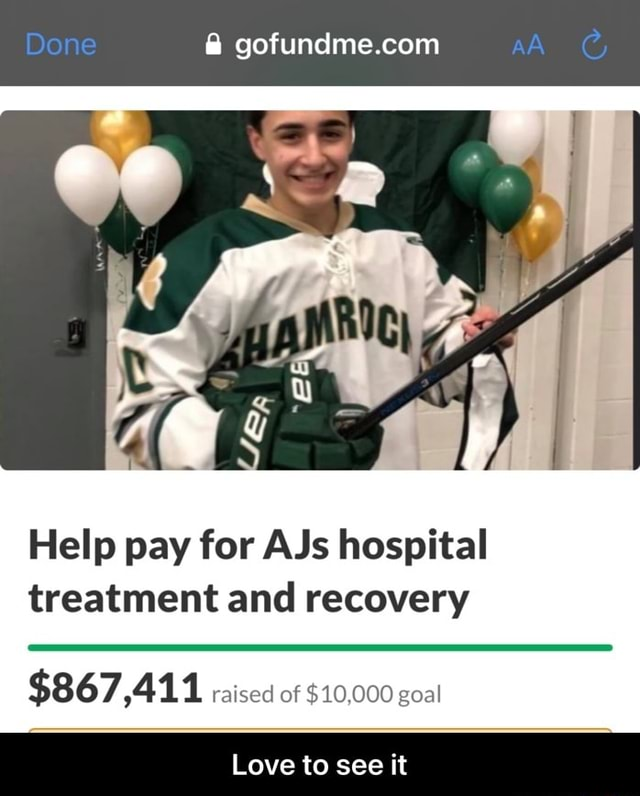 Help pay for AJs hospital treatment and recovery $867,411 raised of $10,000 goal Love to see it Love to see it memes