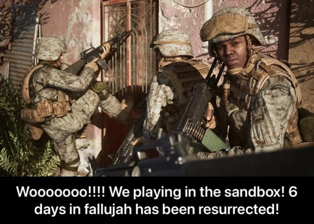 Woo00000 We playing in the sandbox 6 days in fall has been resurrected Wooooooo We playing in the sandbox 6 days in fallujah has been resurrected meme