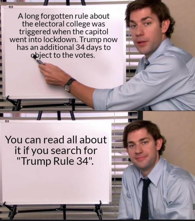 Along forgotten rule about the electoral college was triggered when the capitol went into lockdown. Trump now has an additional 34 days to eject to the votes. You can read all about it if you search for Trump Rule 34 memes