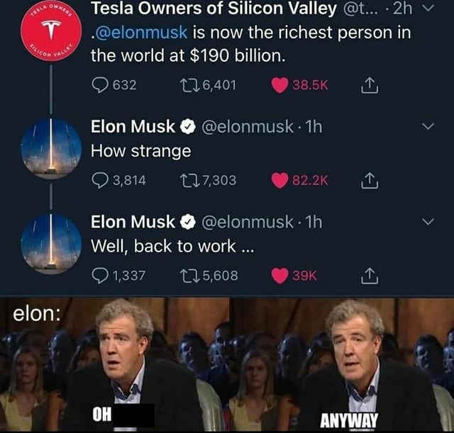 Elon Tesla Owners of Silicon Valley t elonmusk is now the richest person in the world at $190 billion. it, 632 Flon Musk How strange of 3,814 82.2K Elon Musk Well back to work 25,608 as ANYWAY meme