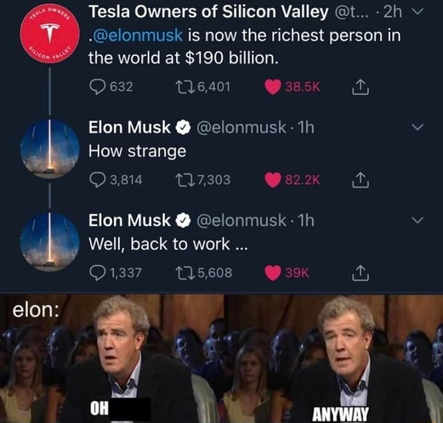 Tesla Owners of Silicon Valley t elonmusk is now the richest person in the world at $190 billion. 632 16,401 38.5K Elon Musk elonmusk How strange ty 3,814 82.2k Elon Musk elonmusk Well, back to work see ANYWAY elon meme