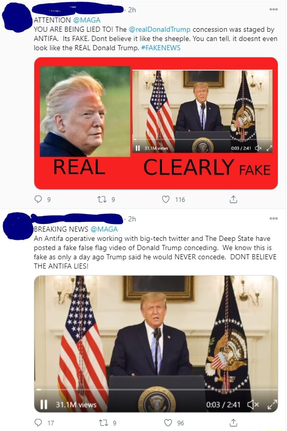 ATTENTION M YOU ARE BEING LIED TO The realDonaldTrump concession was staged by ANTIFA. Its FAKE. Dont believe it like the sheeple. You can tell, it doesnt even look like the REAL Donald Trump. FAKENEWS REAL CLEARLY rake BREAKING NEWS MAGA An Antifa operative working with big tech twitter and The Deep State have posted a fake false flag of Donald Trump conceding. We know this is fake as only a day ago Trump said he would NEVER concede. DONT BELIEVE THE ANTIFA LIES 31.1M views memes