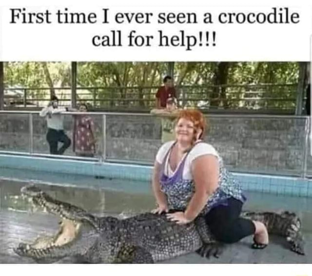 First time I ever seen a crocodile call for help meme