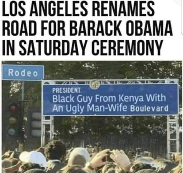 LOS ANGELES RENAMES ROAD FOR BARACK OBAMA IN SATURDAY CEREMONY Op s PRESIDENT Black Guy From Kenya With An Ugly Man Wife Boulevard memes