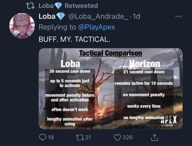 Loba Retweeted Loba Loba Andrade id Replying to PlayApex BUFF. MY. TACTICAL. 30 second coal down up to 5 seconds just to activate movement penalty before and after activation often doesn't work lengthy animation ates using Tactical Compartson Borizon 21 secand cool down remains active for 10 seconds movement penalty works every time no lenathy animation 326 uk memes