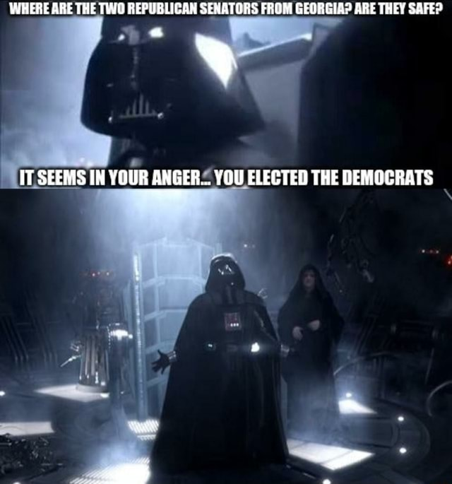 WHERE ARE THE TWO REPUBLICAN SENATORS FROM GEORGIA ARE THEY SAFE IT SEEMS IN YOUR ANGER YOU ELECTED THE DEMOCRATS memes