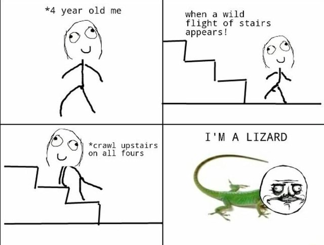 *4 year old me when a wild flight of stairs appears I'M A LIZARD *crawl upstairs on all fours memes