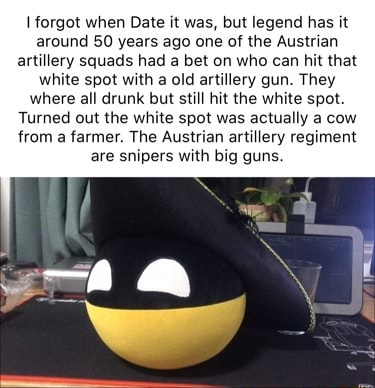 Forgot when Date it was, but legend has it around 50 years ago one of the Austrian artillery squads had a bet on who can hit that white spot with a old artillery gun. They where all drunk but still hit the white spot. Turned out the white spot was actually a cow from a farmer. The Austrian artillery regiment are snipers with big guns memes