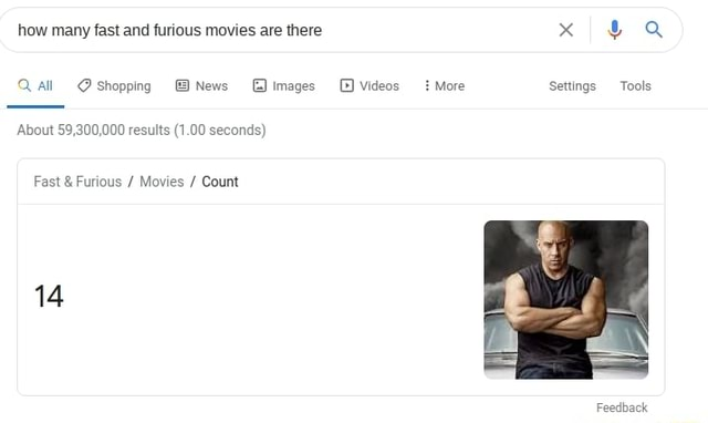 How many fast and furious movies are there x Q Qaall shopping News images More Settings Tools About 59,300,000 results 1.00 seconds Fast and Furious Movies Count 14 memes