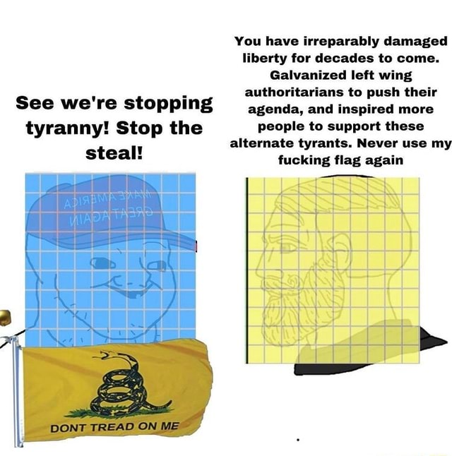 You have irreparably damaged liberty for decades to come. Galvanized left wing authoritarians to push their See we're stopping agenda, and inspired more tyranny Stop the people to support these alternate tyrants. Never use my steal fucking flag again DONT TREAD ON ME memes